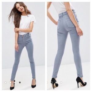 ASOS High Waist Skinny Jeans I Light Gray Size 26